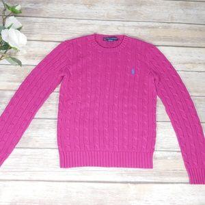 Ralph Lauren Pink Cable Knit Crewneck Sweater S